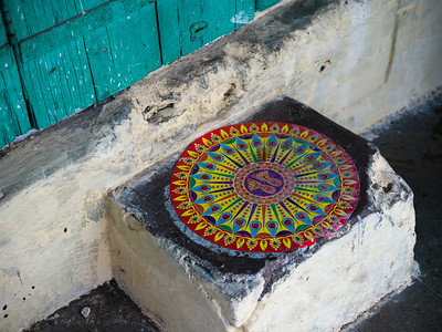 Rangoli at the entrance of a house, Narendranagar, Tehri Garhwal, Uttarakhand, India
