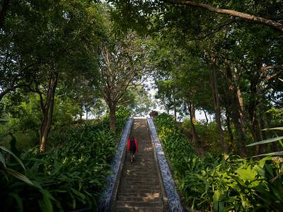 Staircase in a garden, AnandaIn the Himalayas, Narendranagar, Tehri Garhwal, Uttarakhand, India