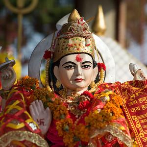 Details of an idol of Hindu Goddess Kunjapuri Devi, Kunjapuri Devi Temple, Adali, Narendranagar, Tehri Garhwal, Uttarakhand, India