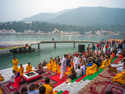 Devotional Ritual performance during Ganga Aarti, Rishikesh, Dehradun District, Uttarakhand, India