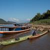 Boats at the shoreline of River Mekong, Luang Prabang, Laos