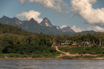 River with mountain range in background, River Mekong, Oudomxay Province, Laos