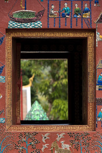 Close-up of window of temple, Wat Xieng Thong temple, Luang Prabang, Laos