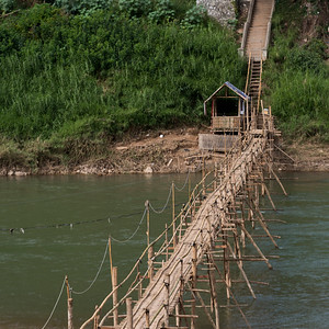 Bamboo bridge over Nam Khan river, Luang Prabang, Laos