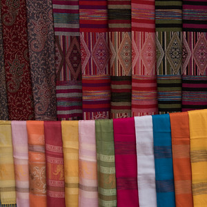Fabric Stoles and shawls for sale, Luang Prabang, Laos