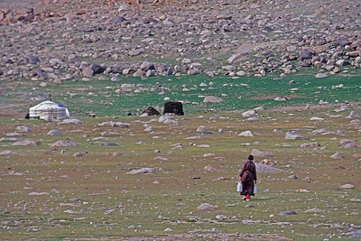 woman carrying water from river back to ger. western mongolia