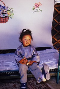 Little girl in ger. Western mongolia