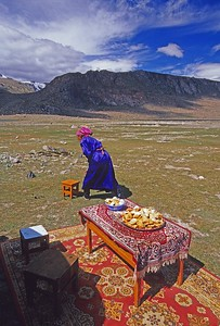 Woman at local Naadam. Festival. Western mongolia