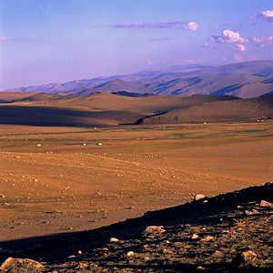 Gers in landcape. Altai mountains western mongolia