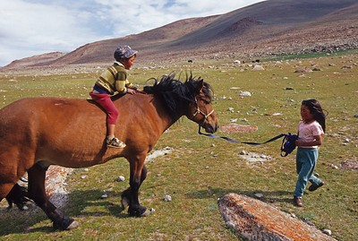 Children on horse. Western mongolia