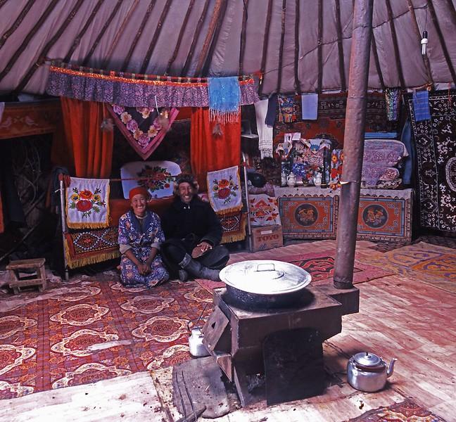 Ger interior western mongolia Altai mountains Kazakh