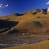gers in valley mountain landscape. western mongolia