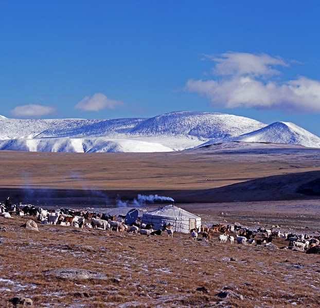 ger in snowy landscape western mongolia altai mountains