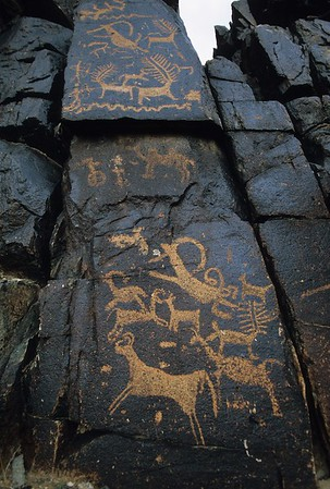 rock engravings. vulture valley. mongolia