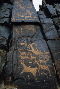 rock engravings. vulture valley. mongolia