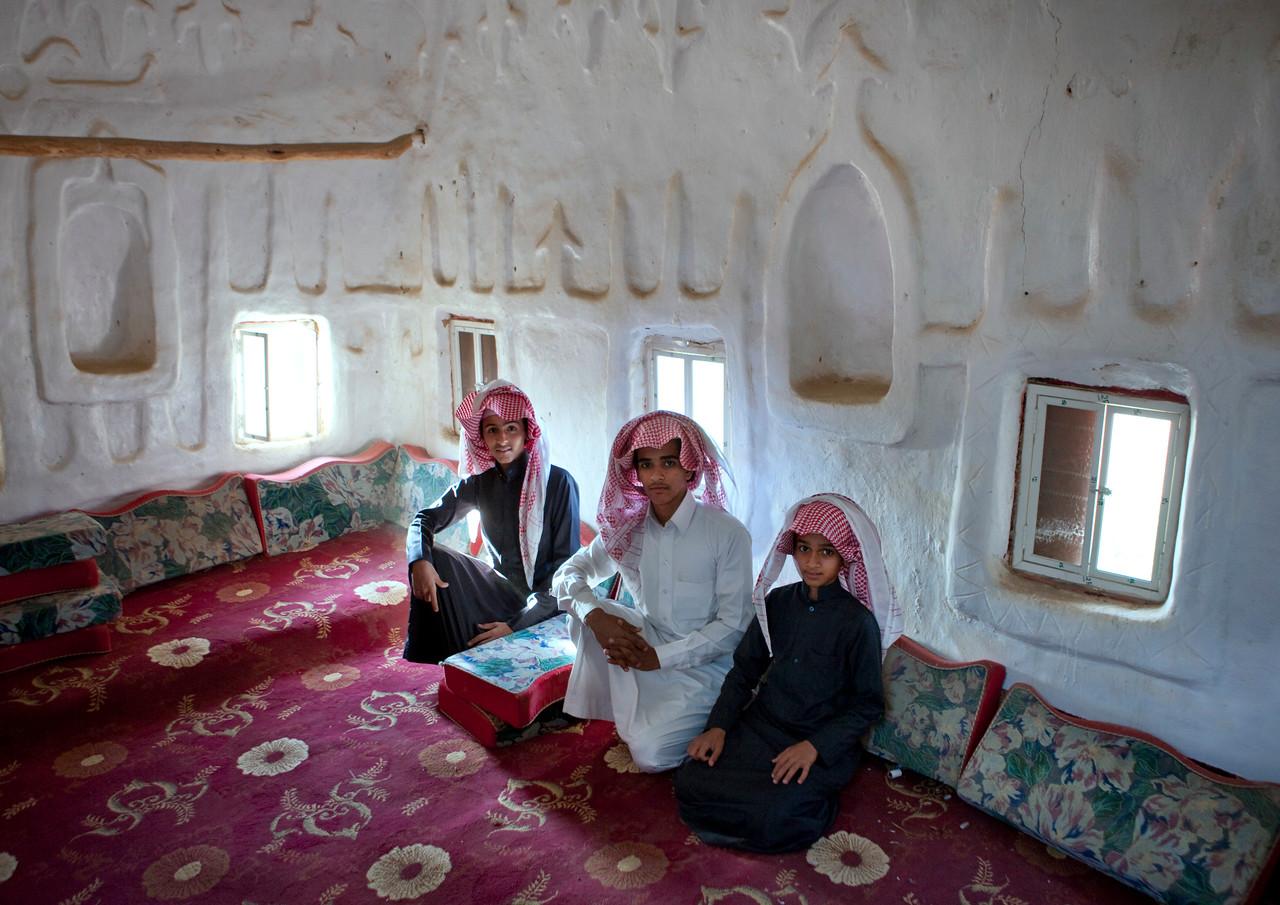 Saudi Arabia, Asir, Najran, Teenagers In An Old House