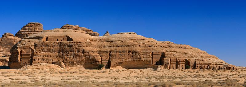 Saudi Arabia, Al Madinah Region, Al Ula, Madain Saleh Archaeologic Site Panorama