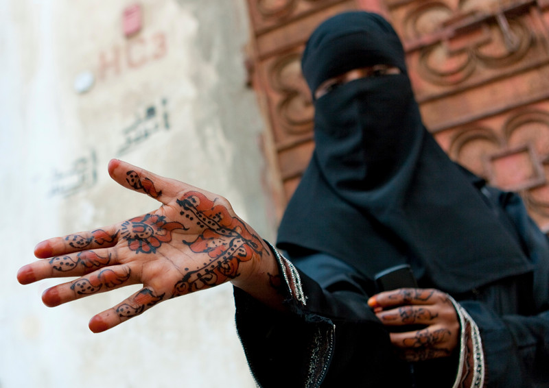 Saudi Arabia, Mecca Region, Jeddah, Somali Refugee With Henna On The Hand