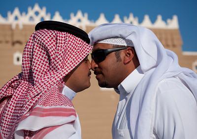 Saudi Arabia, Riyadh Province, Riyadh, Two Men Saying Hello With Their Noses