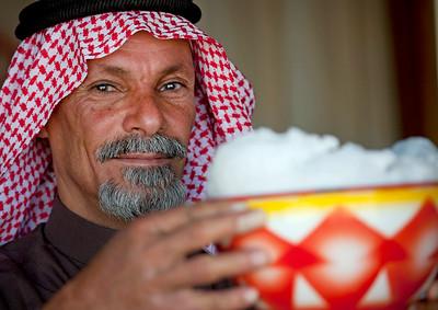 Saudi Arabia, Riyadh Province, Riyadh, Saudi Beduin With Fresh Camel Milk