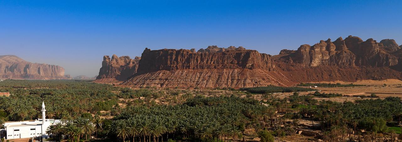 Saudi Arabia, Al Madinah Region, Al Ula, Panorama Of The Palm Grove