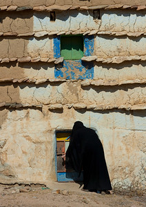 Saudi Arabia, Asir, Sarat Habidah, Saudi Woman Going Inside Her House