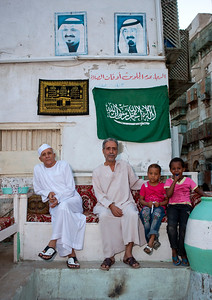 Saudi Arabia, Mecca Region, Jeddah, Family In The Old Town