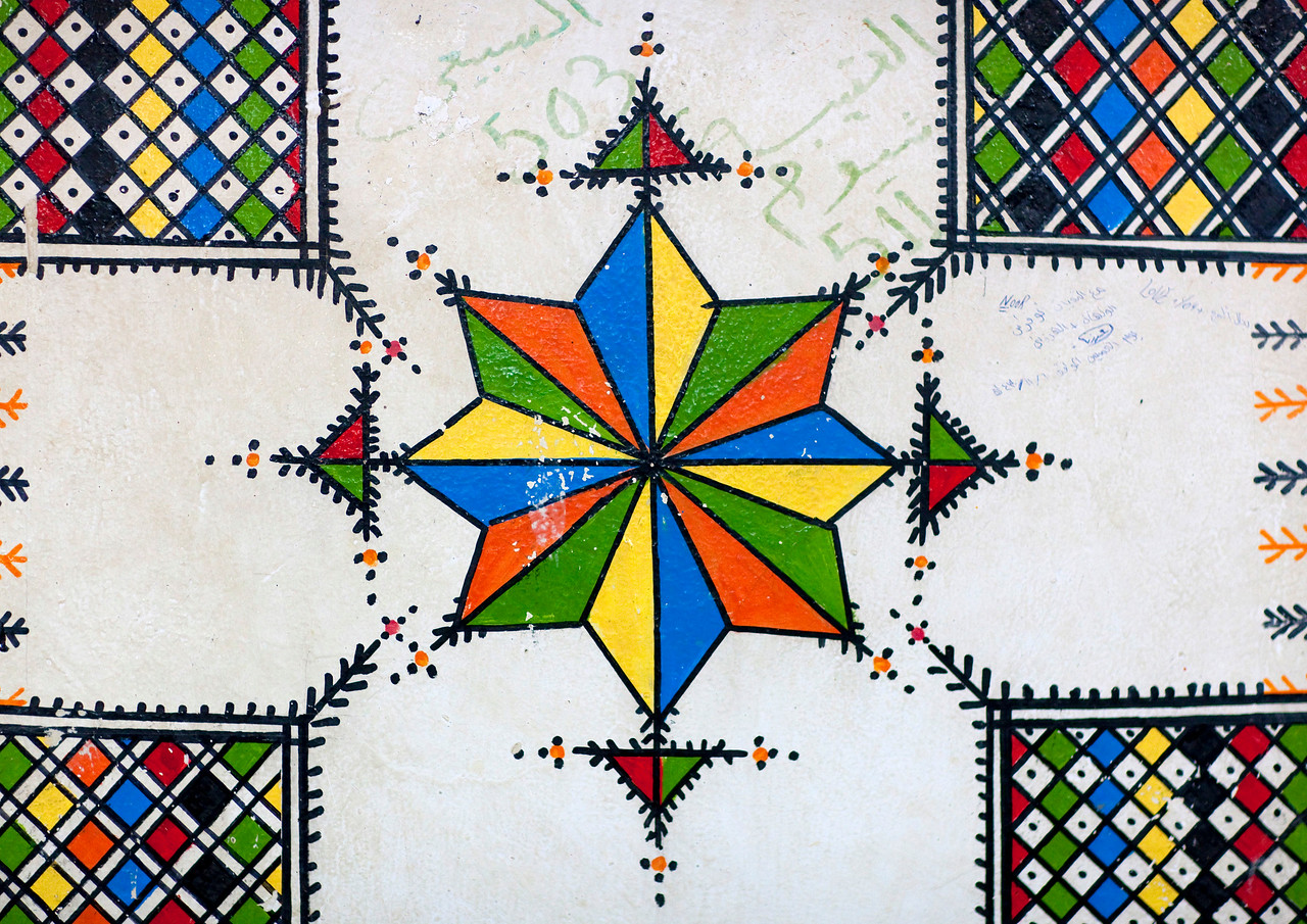 Saudi Arabia, Asir, Sarat Habidah, Traditional Hand Painted Decorations In A House