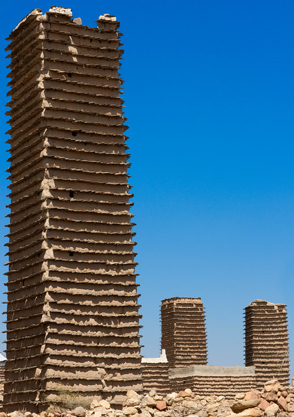 Saudi Arabia, Asir, Al Khalaf, Old Adobe Towers In A Village