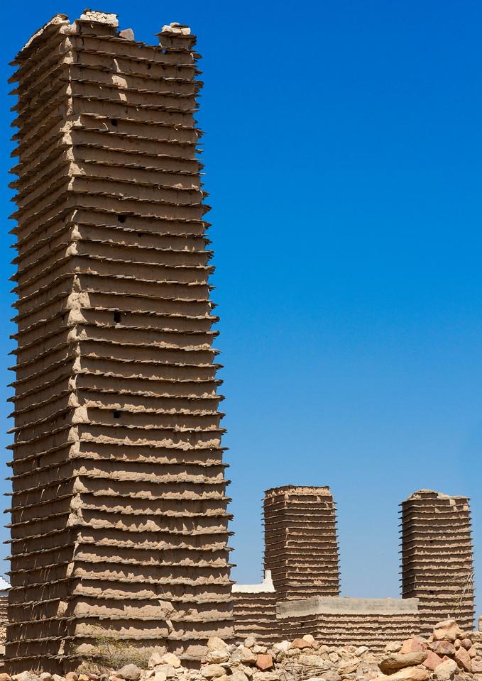 Saudi Arabia, Asir, Al Khalaf, Old Adobe Towers In A Village