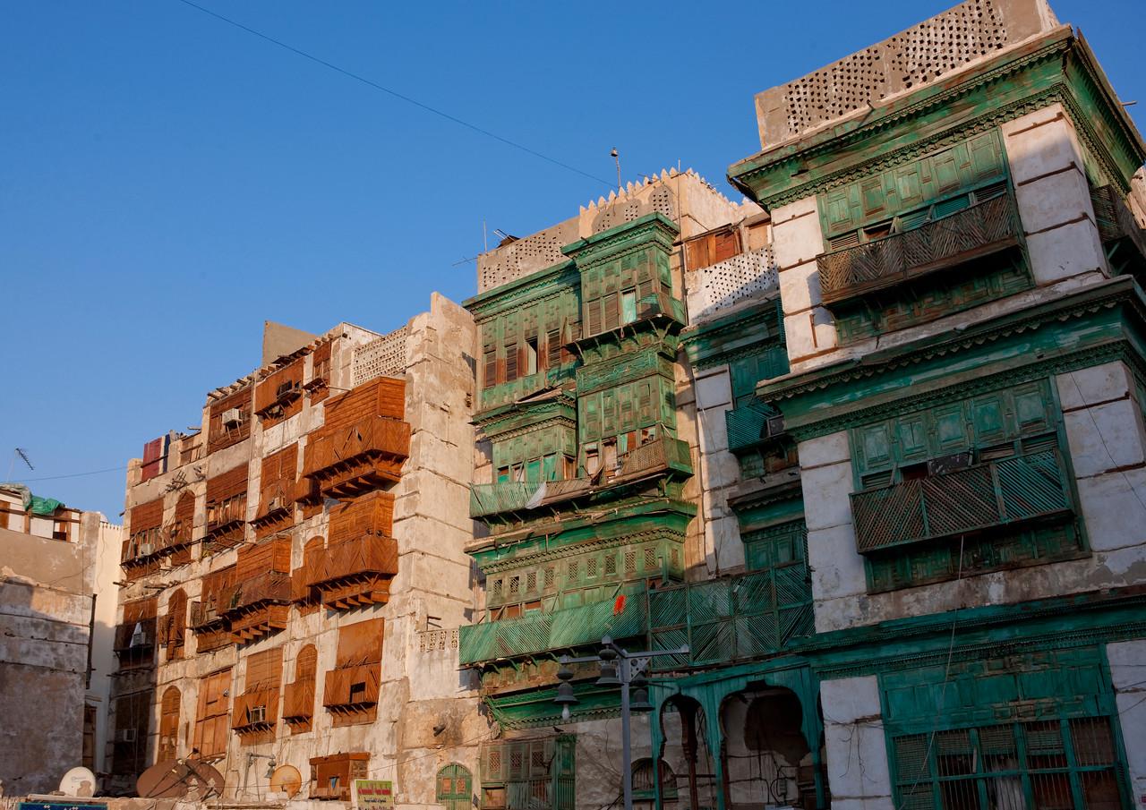 Saudi Arabia, Mecca Region, Jeddah, Moucharabieh Wooden Balconies In The Old Town