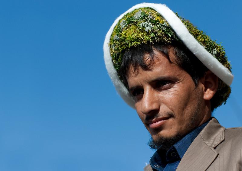 Saudi Arabia, Asir, Al Farsha, Flower Man With A Crown On The Head