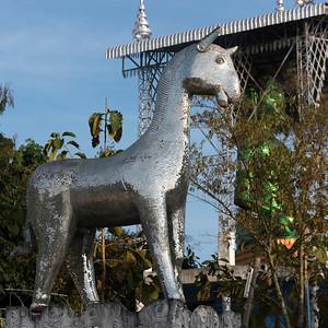 Horse statue at Buddhist temple, Phrathat Doi Ha Chedi, Chiang Rai, Thailand