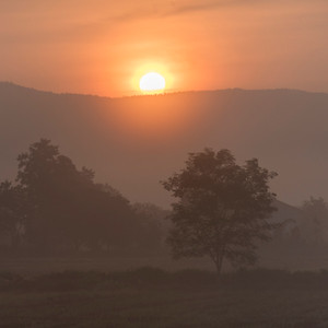 Sunrise over mountains, Chiang Rai, Thailand