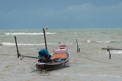 Boat in sea under stormy sky, Koh Samui, Surat Thani Province, Thailand