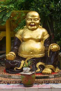 Close-up of laughing Buddha statue, Koh Samui, Surat Thani Province, Thailand