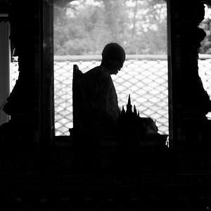 Silhouette of mummified monk in temple, Koh Samui, Surat Thani Province, Thailand