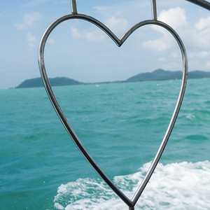 Sea viewed through heart shape frame, Koh Samui, Surat Thani Province, Thailand