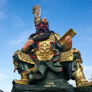 Low angle view of Guan Yu statue, Koh Samui, Surat Thani Province, Thailand