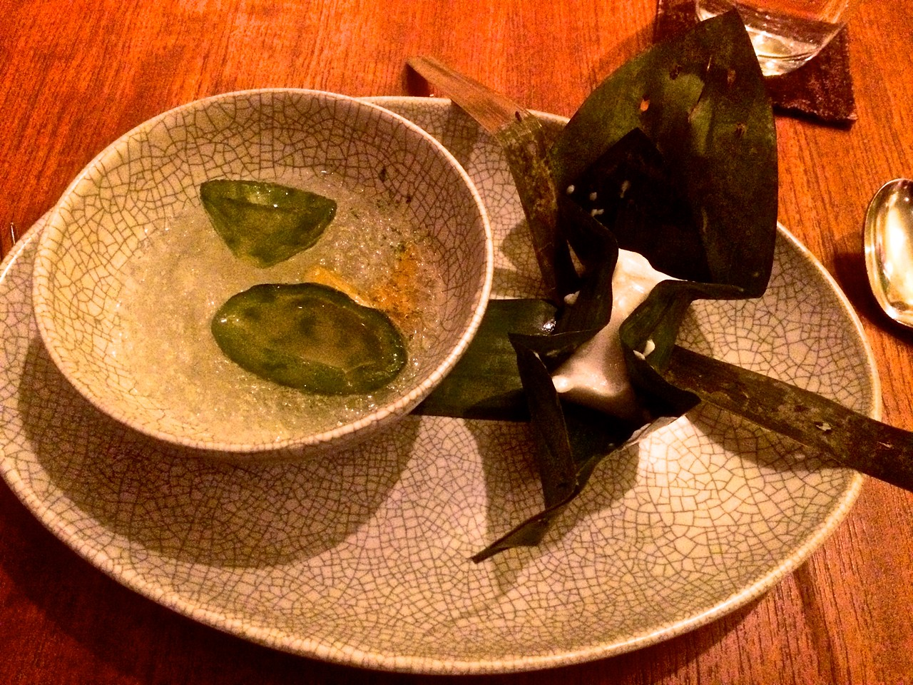 kaffir lime in perfumed syrup with candied coconut