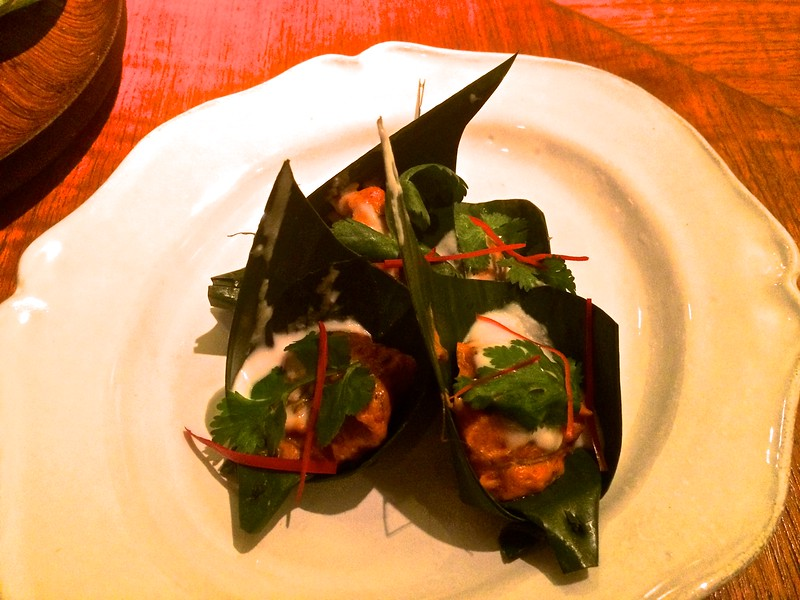 steamed red curry of scallops with thai basil and coconut