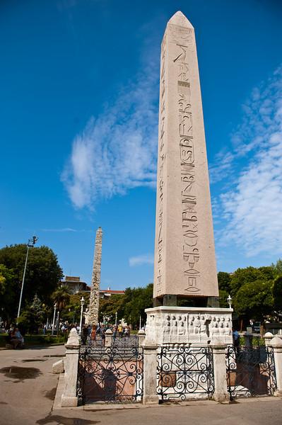 Egyptian Obelisk (near) - Column of Constantine (far)