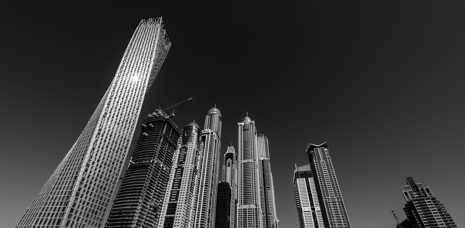 Dubai Marina's impressive skyscrapers...