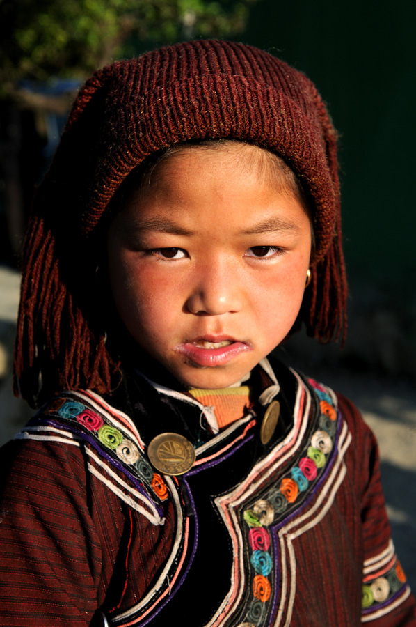 Portait of a young Hani / Akha girl taken in Yunnan,China
