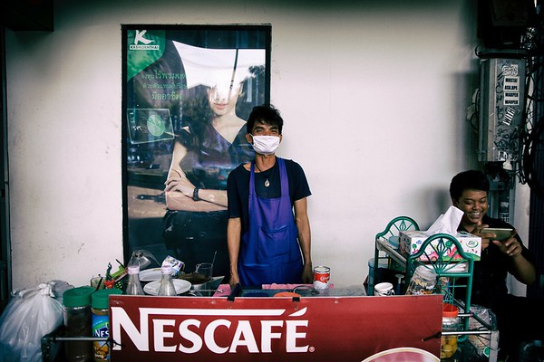 Snack vendor, Bangkok.  2015.
