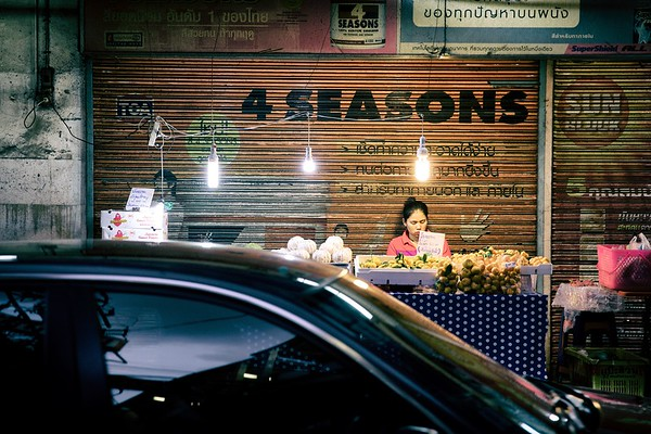 Street food makes for street life - Bangkok, Thailand.   2015.