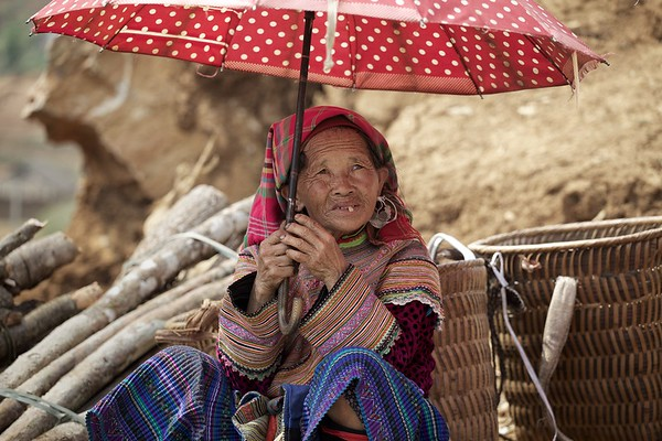 A local villager at the rural Can Cau market in northern Vietnam.   2013.