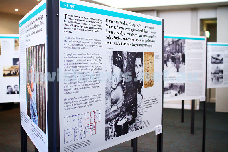 """5-7-15.  The Australian Society of Polish Jews and Their Descendants event at Beth Weizmann honouring the Polish Righteous Among the Nations. Exhibition, """"They Risked Their Lives : PLoes who saved Jews during the Holocaust"""". Photo: Peter Haskin"""