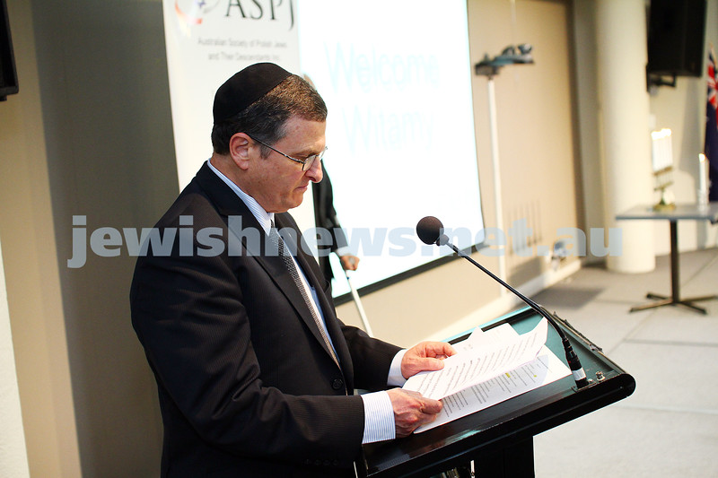 5-7-15.  The Australian Society of Polish Jews and Their Descendants event at Beth Weizmann honouring the Polish Righteous Among the Nations. Israeli Ambassador Shmuel Ben-Shmuel. Photo: Peter Haskin