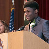 The 21st annual veteran's program at Ayer Shirley Regional High School was held on Monday, Nov. 4, 2019. Senior Class president Owen Uyi-Osagie addresses the crowd at the ceremony. Next to him is senior Class Secretary Nasia Bykov-Newry. SENTINEL & ENTERPRISE/JOHN LOVE